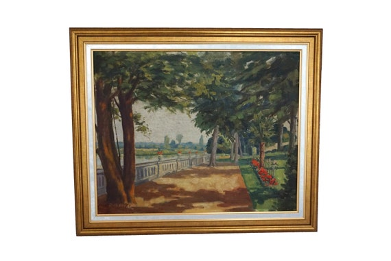 Park and Flower Garden Landscape Painting, French Art Signed Luigi Durante