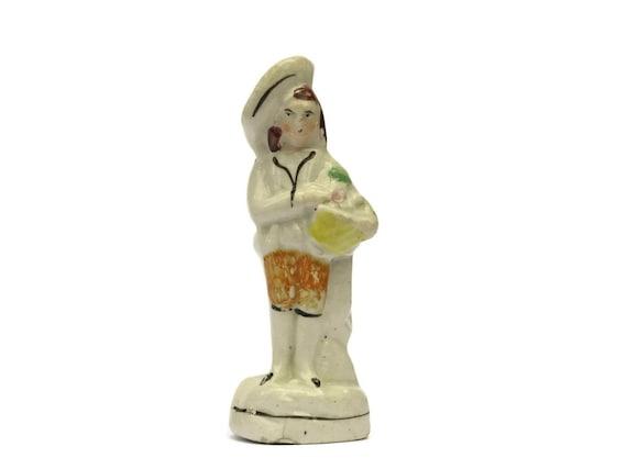 Antique German Porcelain Boy Figurine with Sailor Hat and Basket. Hand Painted Ceramic Boy Figure.