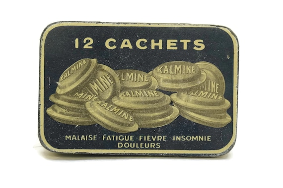 Antique French Medicine Tin Box, Kalmine Tablets Medical Metal Drug Container, Collectible Apothecary Cabinet