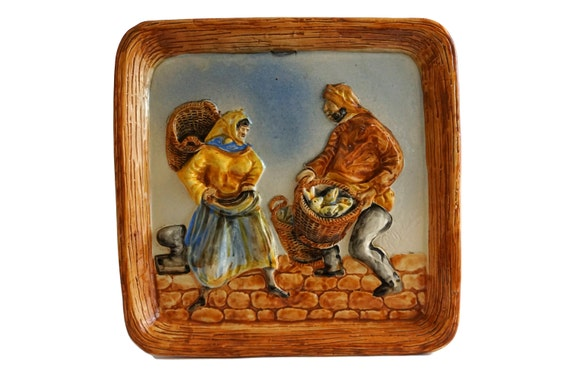 Ceramic Fisherman Coastal Wall Art, Desvres French Pottery by Rene Delarue