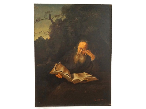 Old Man Reading Portrait Painting, Original Vintage Signed Art, Philosopher Wall Decor