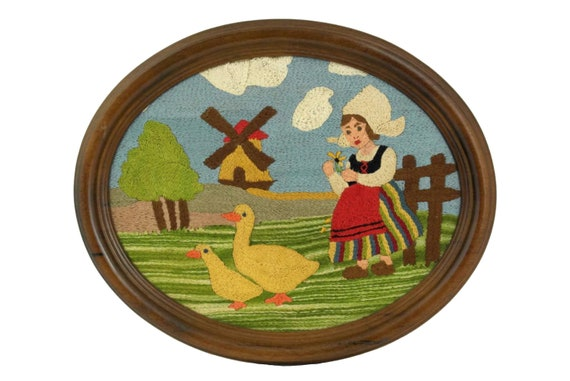 Vintage French Tapestry Wall Hanging, Windmill & Little Dutch Girl