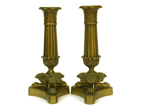 19th Century French Restoration Period Bronze Candlestick Holders.