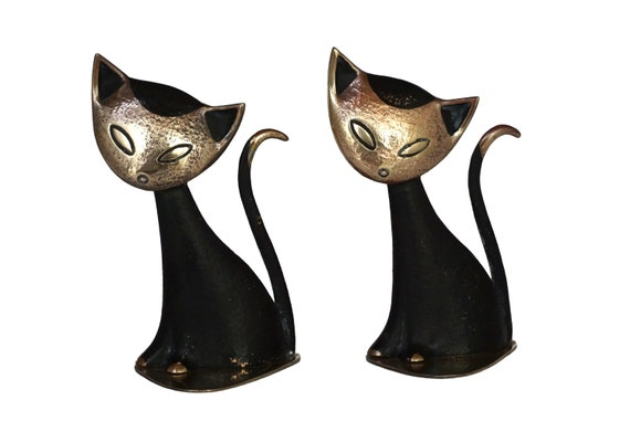Walter Bosse Brass Black Cat Figurine Bookends, Mid Century Modernist Home Office and Desk Decor