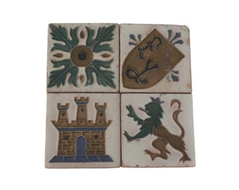 Spanish Ceramic Tiles Set of 4 by Mensaque Rodríguez y Cía, Hand Painted Antique Style with Medieval Castle, Griffon and Heraldic Crest