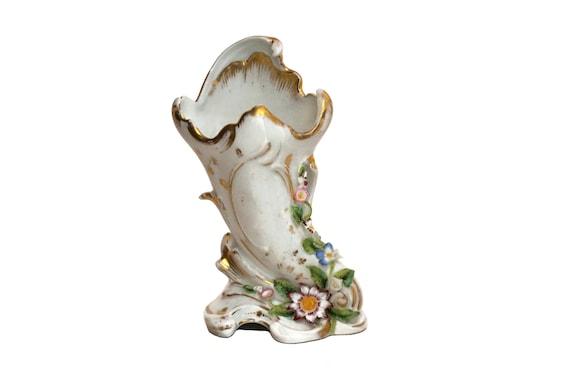 Paris Porcelain Wedding Vase, Hand Painted Antique French Horn of Plenty Cornucopia