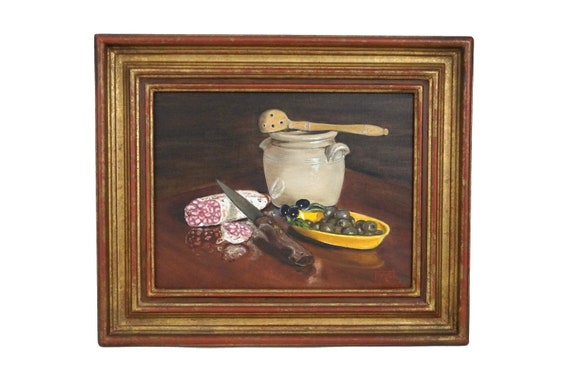 French Olive and Salami Still Life Painting, Country Kitchen Food Art