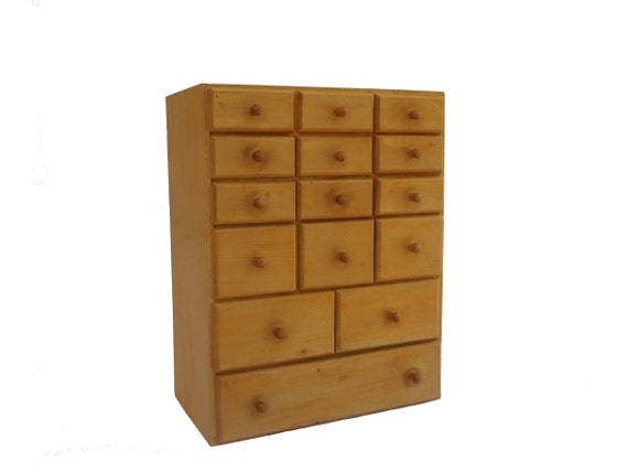 Wooden Craft and Sewing Organizer Box with Drawers, Thread and Button Storage and Display Cabinet