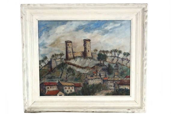 French Castle Fortress and Village Landscape Painting, Original Provencal Art on Canvas