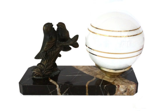 Art Deco Table Lamp with Bird Figurine on Marble Base with Glass Globe, Antique Home & Office Decor
