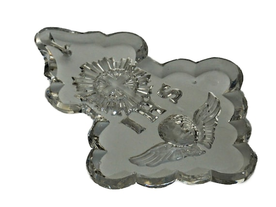 Antique French Crystal Ornament with Cherub, Church Chandelier Decoration, Christian Gifts and Decor