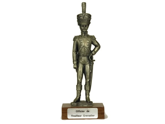 Vintage French Pewter Soldier Figurine, Military Model by Etains du Prince, Collectible Figure of Grenadier Officer