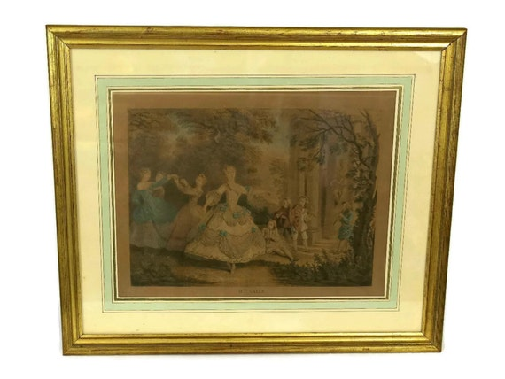 Antique French Engraving Mlle Salle by Nicolas de Larmessin. Framed Hand Colored Print. Romantic French Decor.