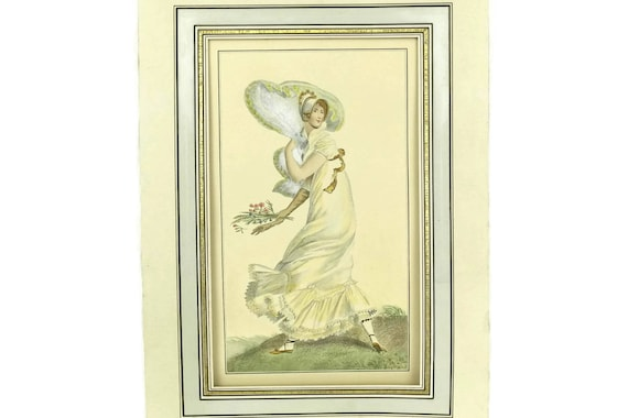 French Antique Lady Engraving Portrait, Art Print of Woman in the Wind, 19th Century Etching Wall Decor