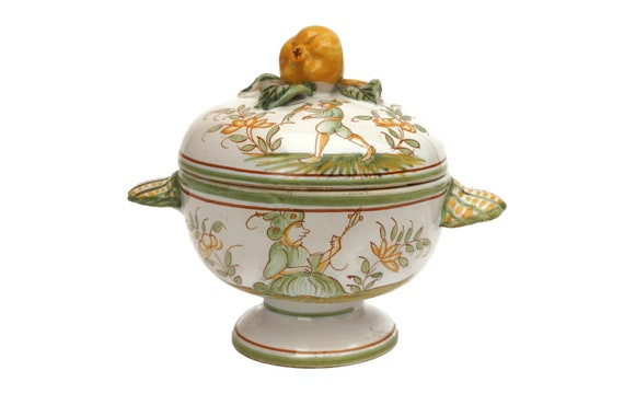Moustiers French Faience Sugar Basin, Hand Painted Ceramic Bowl with Lid