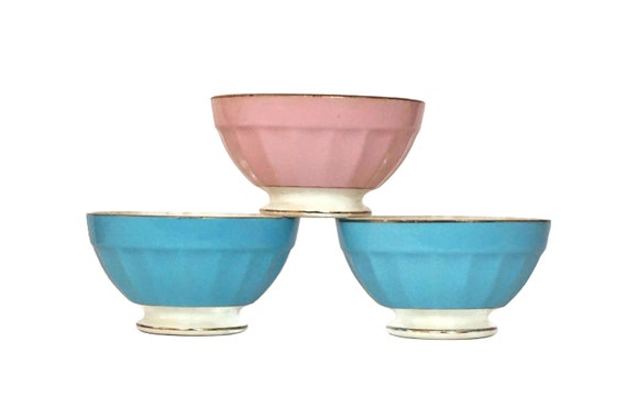 French Latte Coffee Bowl Set of 3, Antique Pastel Porcelain Ceramic Dishes