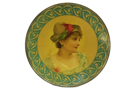 Lithograph Cabinet Plate. Victorian Antique Litho Tin Charger Plate with Lady Portrait. Wall Decor Art.