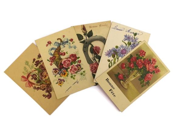 Romantic French Flower Postcards.  Vintage Floral Art Cards. Scrapbook Flower Prints.