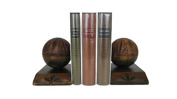 Hand Carved Wood Ball Bookends, French Art Deco Wooden Spheres with Flower Decor