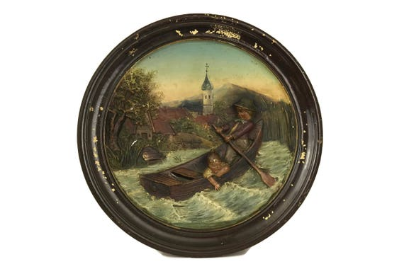 Bernhard Bloch Pottery Wall Plate with Children in Boat, Antique 3D Relief Molded Ceramic Hanging Plaque