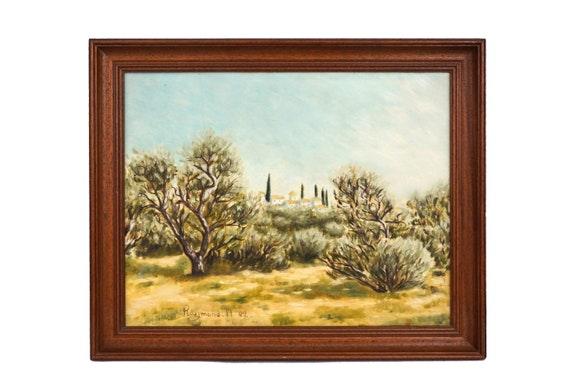 Provence Country Landscape Oil Painting with Olive Trees, French Wall Art