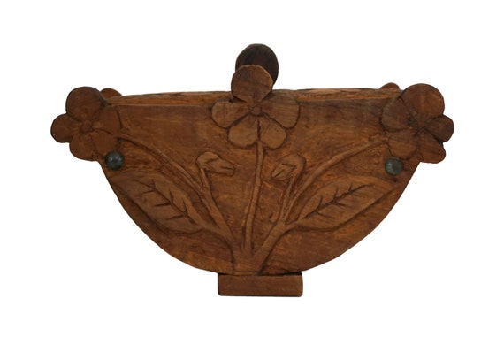 Carved Wood Treen Box with Flowers, Primitive Art, French Kitchen Decor