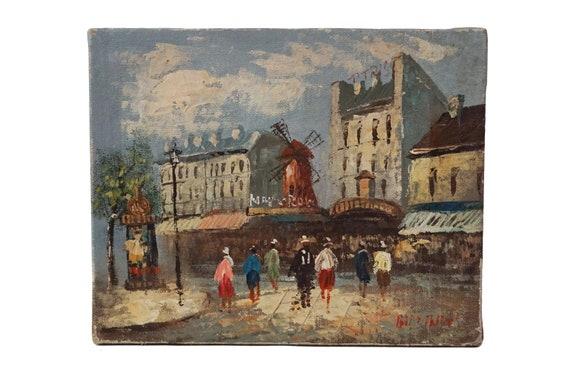 Moulin Rouge Paris Painting with Street Scene, Original French Souvenir Art