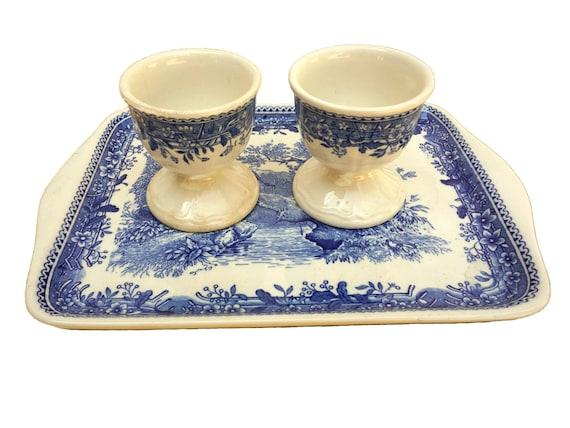 Villeroy & Boch Burgenland Egg Cup Set, Vintage German Porcelain Pair of Egg Holders with Serving Platter