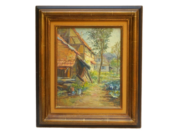 French Farmyard Painting with Vegetable Garden by Gerard Meyer, Framed Original Alsace Art