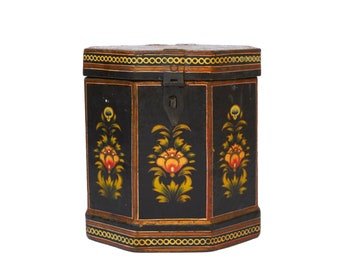 Anglo Indian Paper Mache Box, Antique Folk Art Hand Painted Octagonal Asian Storage Canister