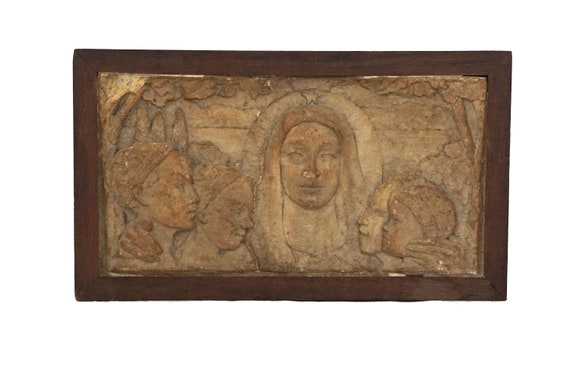 Antique Virgin Mary  Portrait Clay Sculpture with Children, French Religious Wall Hanging Plaque