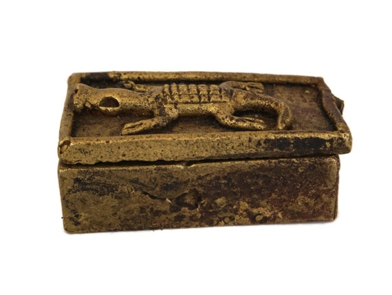 Antique Akan Gold Dust Box, Brass Jewelry Box with Crocodile Decor, Collectible African Art