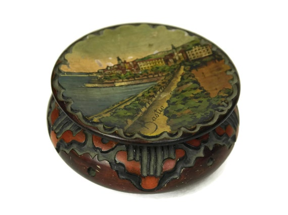 Vintage Corsica Souvenir Wooden Box, Carved Jewelry Trinket Dish,  French Art Deco Painting, Bastia Panorama