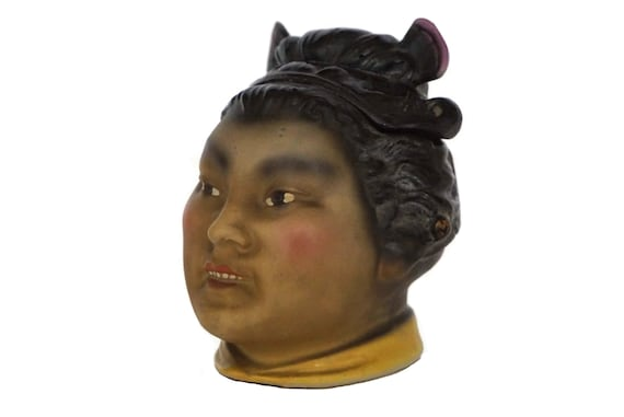 Antique Geisha Porcelain Tobacco Jar, Gift For Smoker, Asian Figurine Home Decor