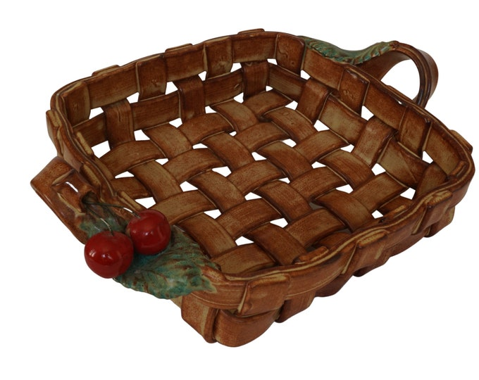 French Pottery Basket Weave Fruit Bowl with Cherries and Leaves, Ceramic Table Centerpiece