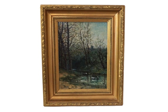 Antique River Landscape Painting with Ducks, Framed French Wall Art