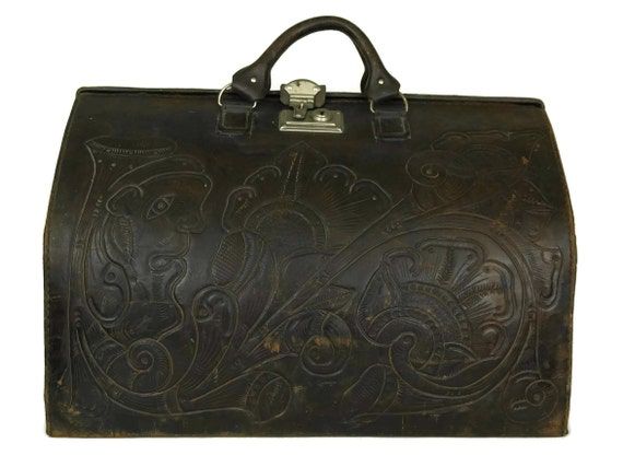 Tooled Leather Gladstone Bag, French Folk Art Flower Suitcase, Brown Doctors Bag