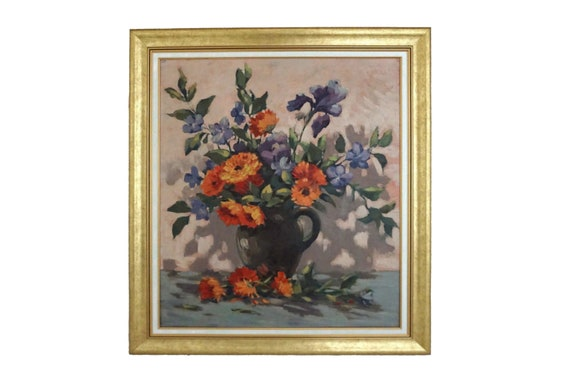 Floral Still Life Oil Painting with Iris, Periwinkle and Dahlia Flowers, Vintage French Original Art