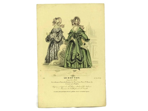 Antique French Fashion Illustration Engraving, 1838 Plate from Le Bon Ton, Ready To Frame Art, Fashionista Gift