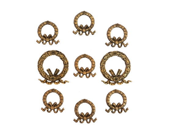 Antique French Flower Wreath Furniture Ornaments Set of 9, Bronze Hardware Molding Decoration
