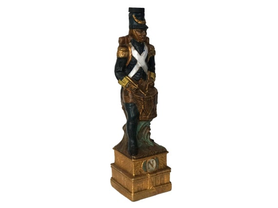 French Napoleon Soldier Decanter Bottle, Collectible Garnier Porcelain Military Figure