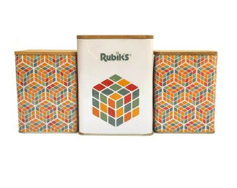 Rubik's Cube Tin Storage Boxes, Set of 3 Kitchen Canisters with 3D Geometric Design