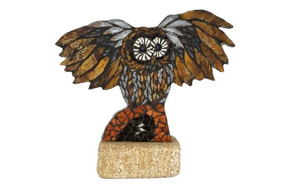 1970s Mosaic Owl Statue, Collectible Art Pottery Bird Figure