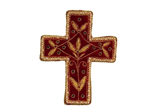 French Embroidery and Beaded Cross Ornament with Gold Metallic Thread, Christian Gifts, Hanging Crucifix