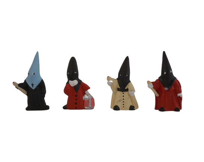 Vintage Spanish Penitents of Seville, Cute Hand Painted Clay Figurines