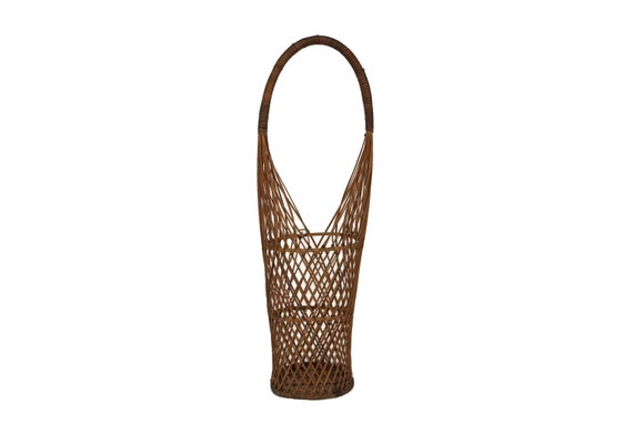 Tall French Flower Basket, Rustic Wicker Garden Decor and Gifts
