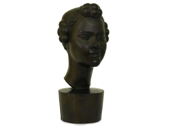 African Carved Wood Woman Bust Statue