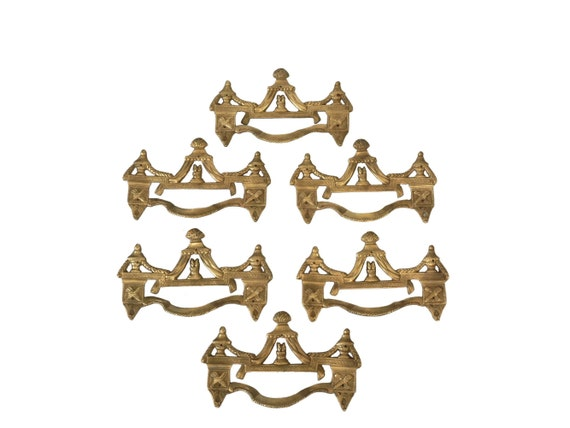Antique French Bronze Drawer Pull Handles, Set of 6 Furniture Hardware Molding Ornaments