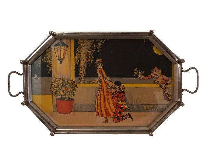 Art Deco Drinks Serving Tray with Pierrot, Harlequin and Columbine Illustration, Antique French Bar Decor