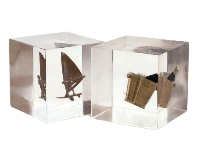 Lucite Paperweight with Miniature Brass Figurines, Resin Inclusion Windsurfer and French Champagne Chiller Bucket